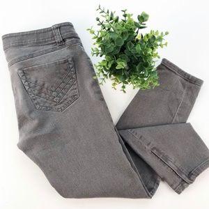CAbi Gray Ankle Zipper Skinny Jeans size 4